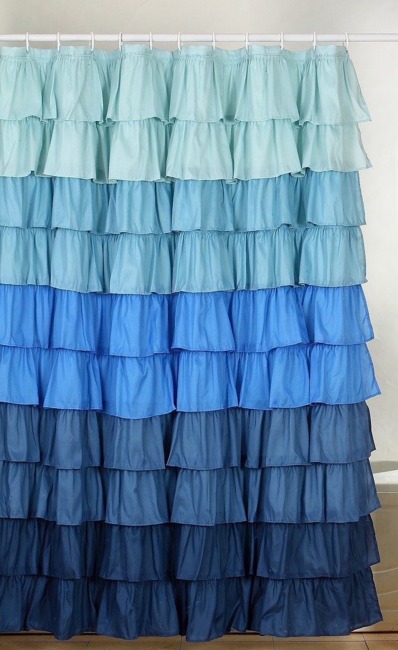 Amazon Flamenco Ruffle Shower Curtain Multi Color Blue Home Kitchen