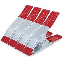 ESUMIC® Metall fjäderklämmor gummidäckt grepphållare för camping presenning 4 st 15 cm