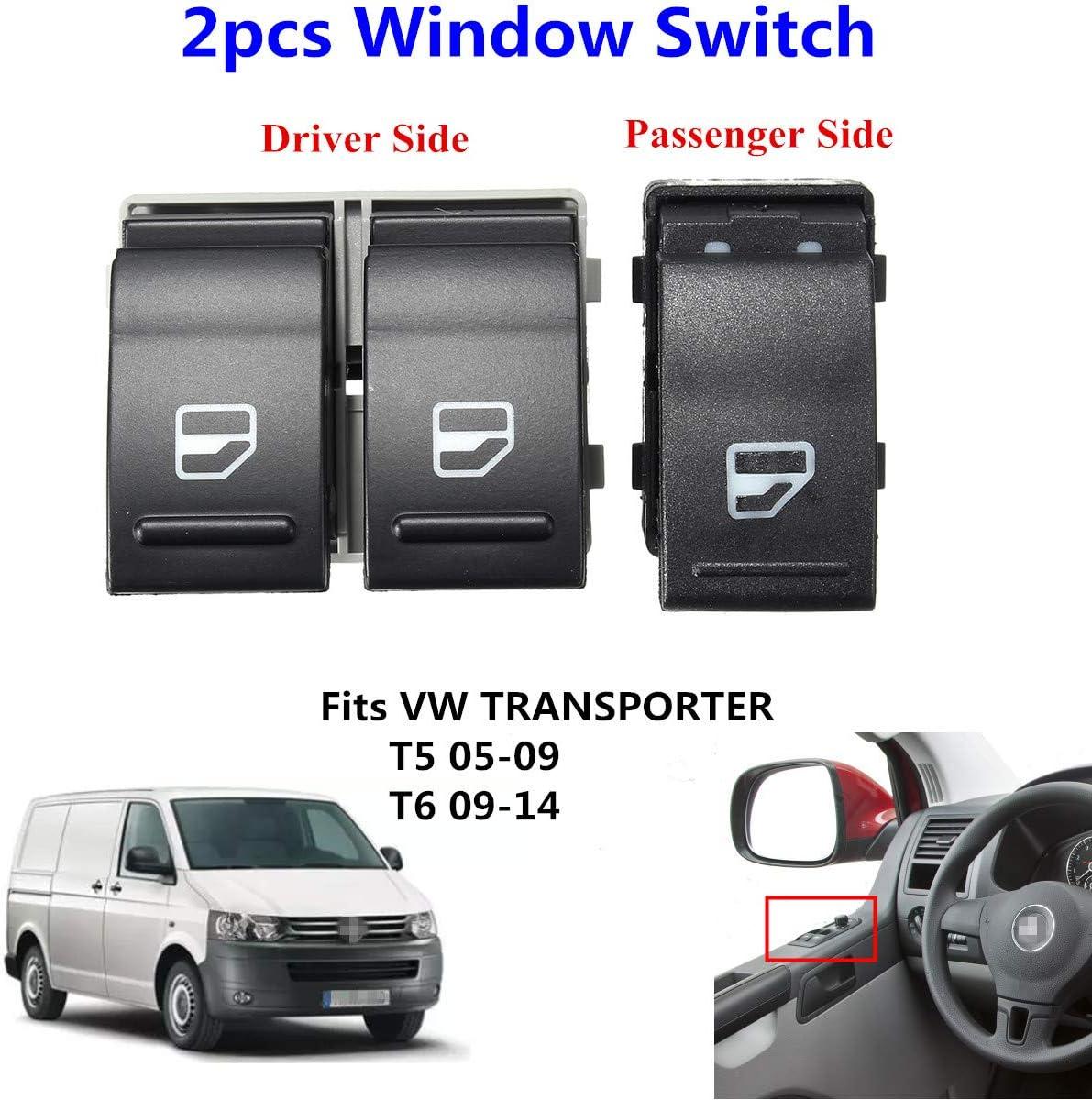 2pcs Electric Window Regulator Driver Passenger Side Switch for Transporter T5 T6 7E0959855A 7E0959855