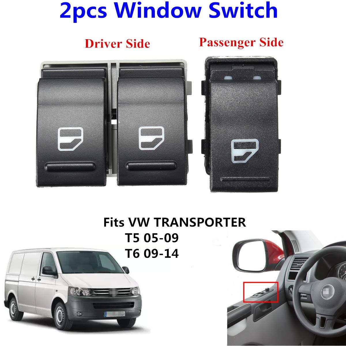 2 elevalunas el/éctrico conductor interruptor lado pasajero para Transporter T5 T6 7E0959855A 7E0959855