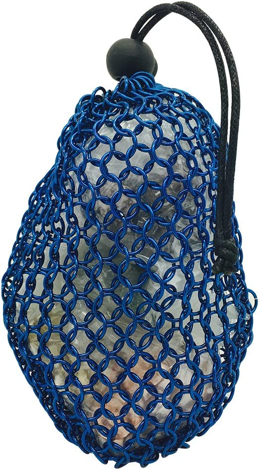 lowest price Blue Stainless Steel Rings Chainmail Dice Fresno Mall Bag Hol 7 5 - inches x