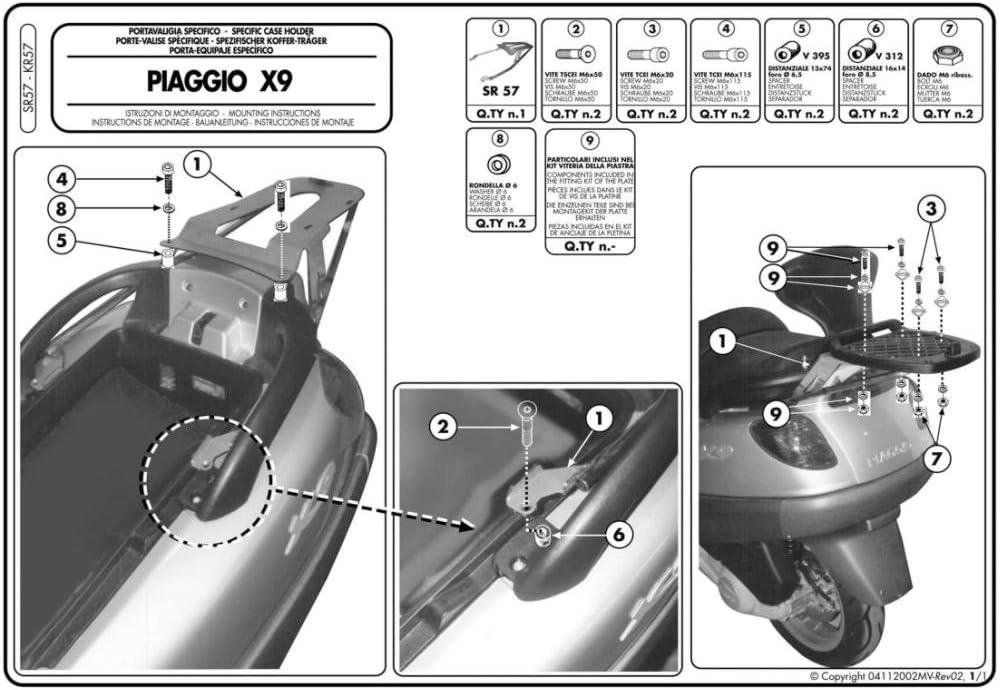 Noir Givi SR57/Valise de Bretelles pour Monolock Topcase 40