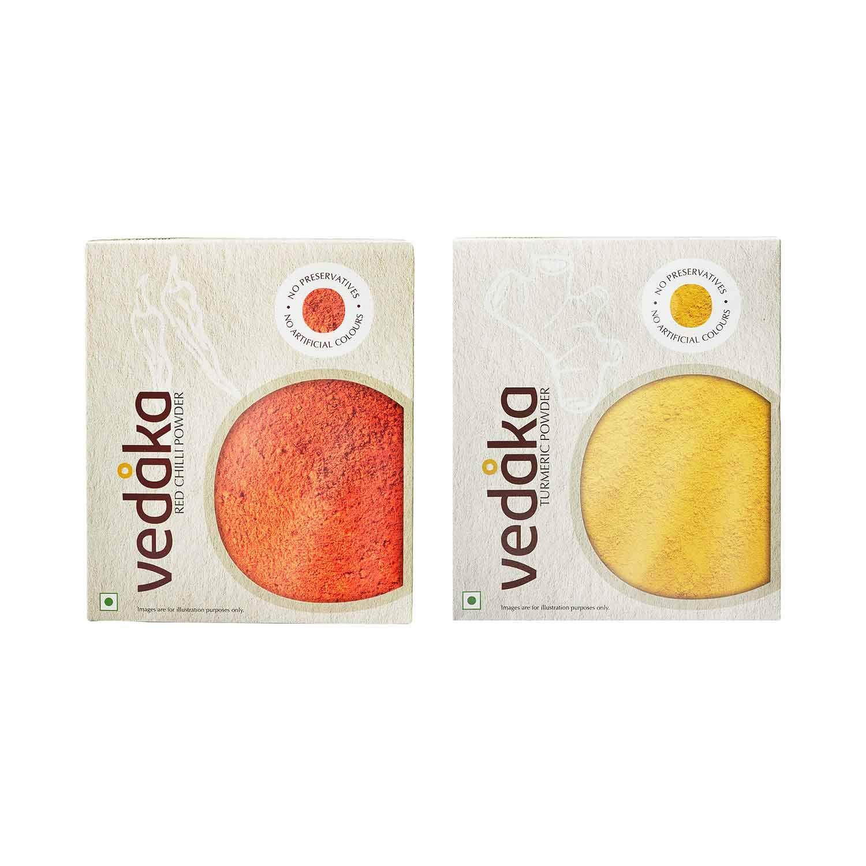 Amazon Brand – Vedaka red Chilli Powder 200g+Turmeric Powder 200g Combo Pack