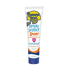 Banana Boat Sunscreen Simply Protect Sport Broad Spectrum Mineral Sunscreen Lotion, TSA Approved Size, SPF 50+, 1 Ounce