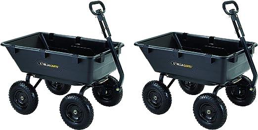 Durable Bed Lawn Gorilla Carts ® Black Heavy Duty Poly Dump Cart 1,200 lb