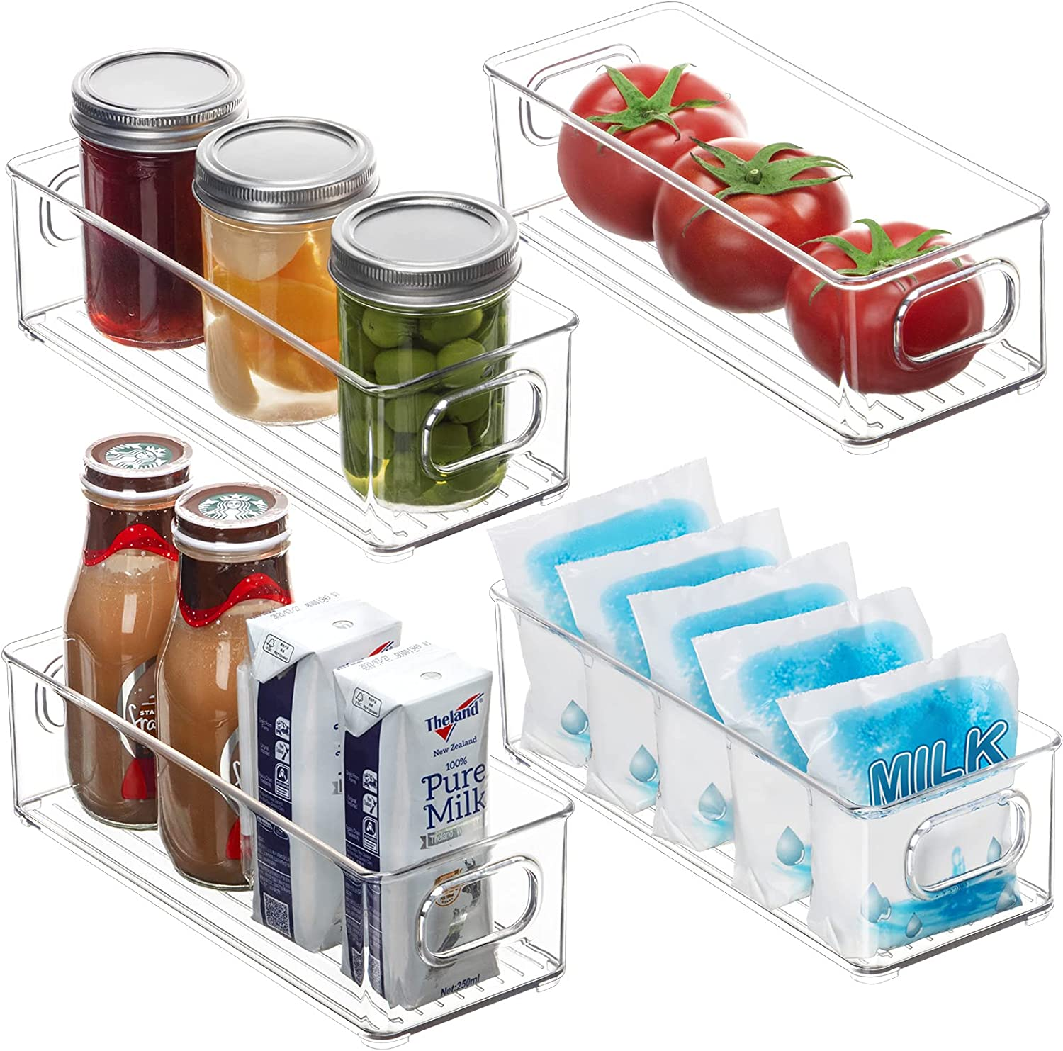 4 Pack Refrigerator Organizer Bins - BPA-Free Stackable Plastic Clear Storage Bins with Handles, Freezer Food Storage Containers for Fridge, Cabinet, Kitchen, Bathroom, Pantry Organization and Storage