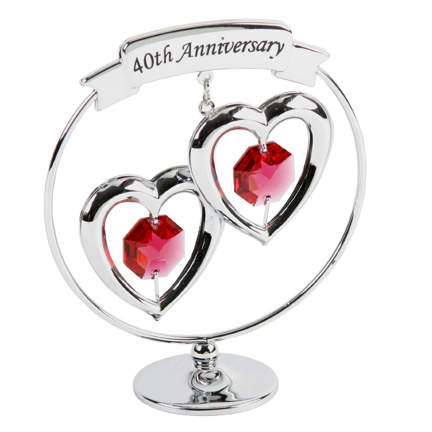 Crystocraft Happy 40th Ruby Wedding Anniversary Silver Ring