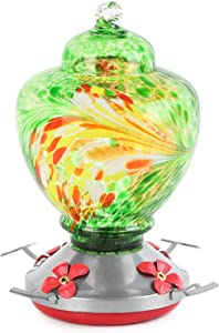 Diamerd Humming Bird Feeder with Ant Moat, TEHOOK Hummingbird Feeders for Outdoors with Best Color, Hand Blown Glass, 36 Ounces, Leakproof, Including S Hook, Hemp Rope, Brush (A03)