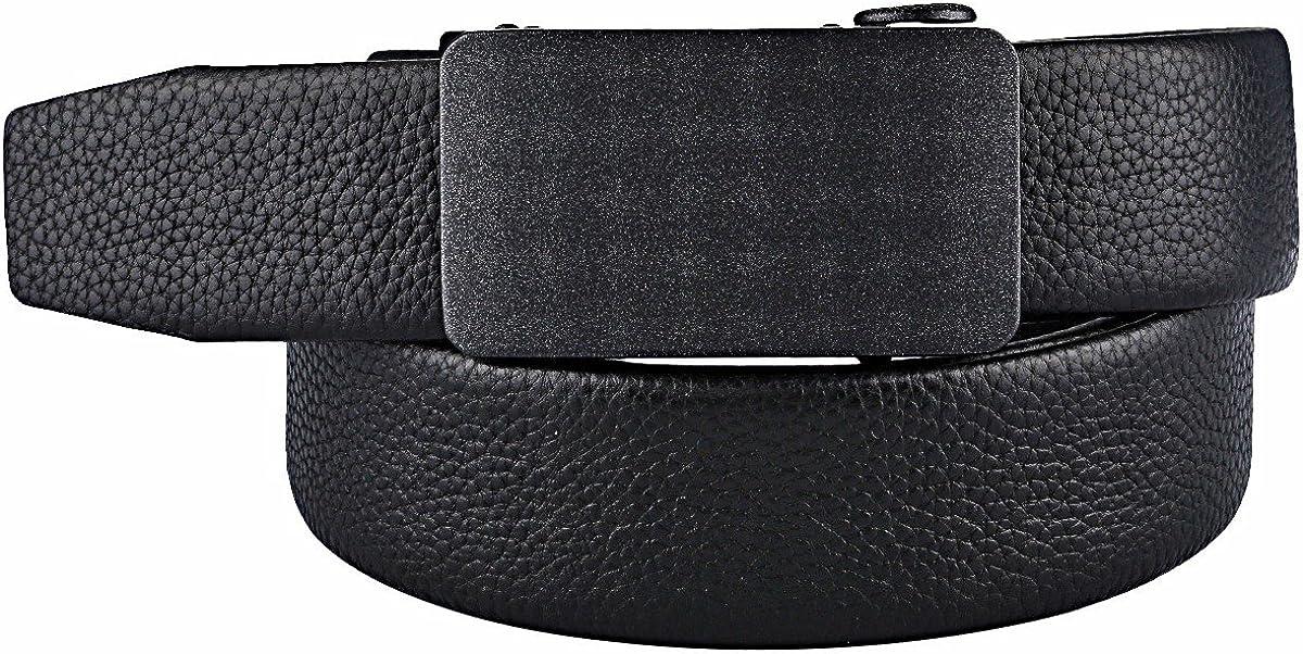 moonsix Men/'s Leather Dress Belt Adjustable Formal Ratchet Business Belt With Sliding Buckle