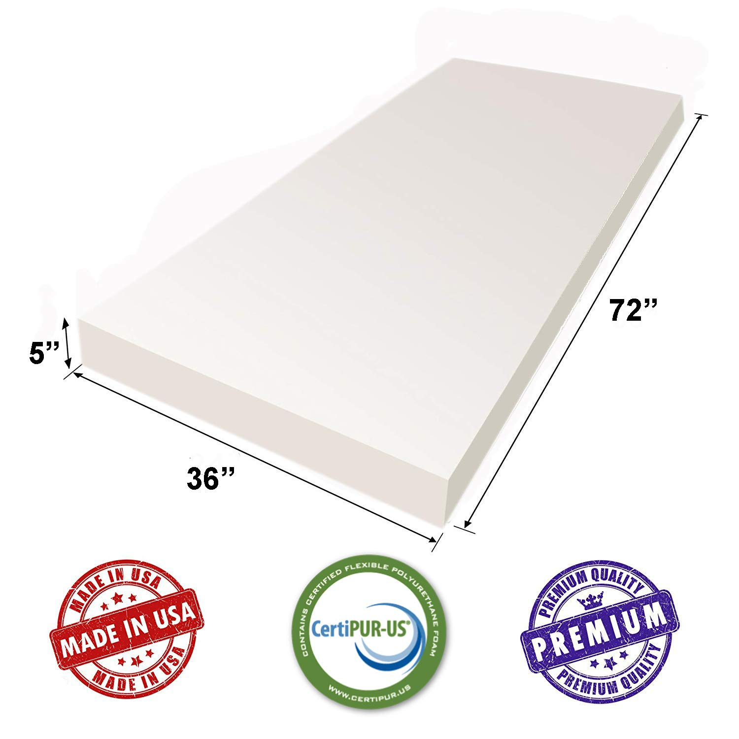 3 H X 36 W X 72 L White Upholstery Sheet Foam Padding CertiPUR-US Certified Seat Replacement, Foam Cushion, Upholstery Sheet AK TRADING CO -