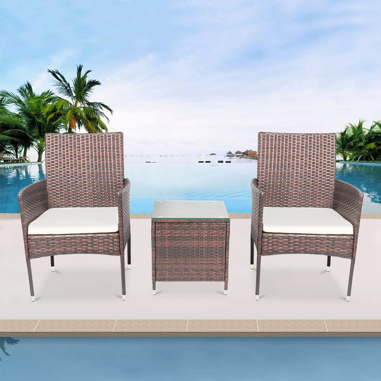 AWQM Porch 3 Piece Rattan Chairs with Cushions, Small Glass Coffee Table Patio Conversation Sets Wicker Furniture for Outdoor Lawn Garden Backyard Poolside Balcony, 3 Pcs