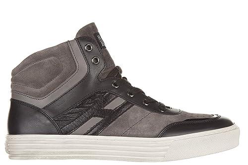 Hogan Rebel scarpe sneakers alte uomo in camoscio nuove r206 mid cut zip  grigio EU 40.5 2ff6c428bc6