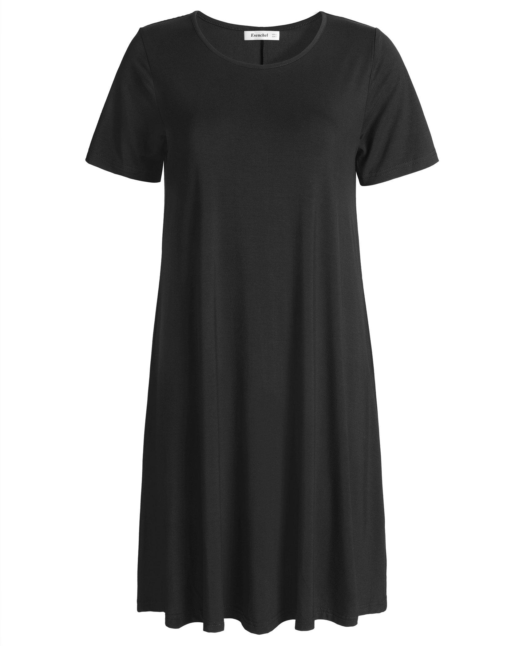 Esenchel Women's Swing T-Shirt Dress Short Sleeve Casual Dress M Black