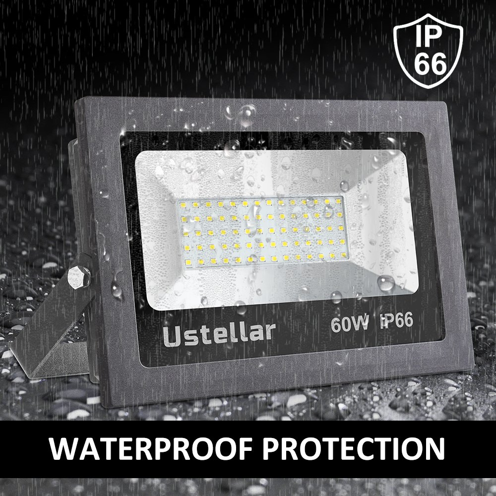 Ustellar 2 Pack 60W LED Flood Light, IP66 Waterproof, 4800lm, 300W Halogen Bulb Equivalent Outdoor Super Bright Security Lights, 5000K Daylight White, Floodlight Landscape Wall Lights by Ustellar (Image #4)