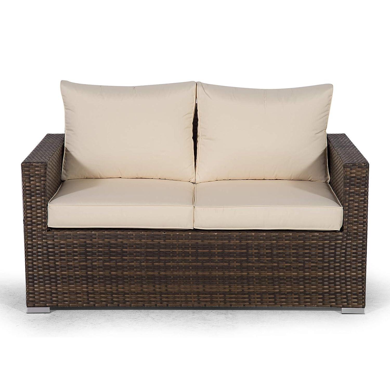 Stupendous Giardino Sydney Brown Rattan 2 Seater Loveseat Sofa Poly Download Free Architecture Designs Grimeyleaguecom