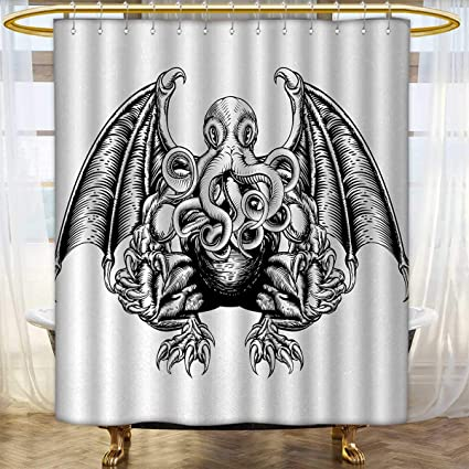Anhounine Kraken Shower Curtains Fabric Extra Long Cthulhu Monster Evil Fictional Cosmic In Woodblock Style
