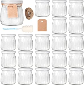 Comrzor 20 Pack 7 oz Yogurt Jars with PE Lids, Glass Pudding Jars Yogurt Jars Ideal for Jam, Honey, Baby Foods, Wedding Favors, Shower Favors(Strings, Tags & Sponge Brush Included)