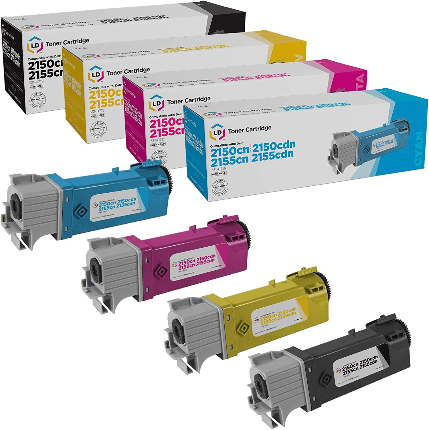 LD Compatible Toner Cartridge Replacements for Dell Color Laser 2150 & Dell Multi-Function 2155 High Yield (Black, Cyan, Magenta, Yellow, 4-Pack)