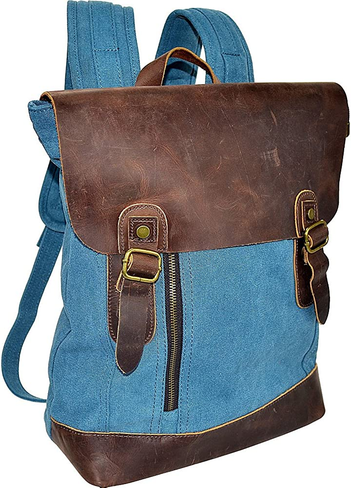 Canvas Backpack Bag With Leather On Flap