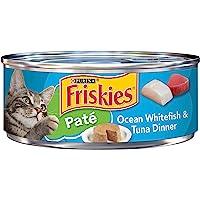 Purina Friskies Pate Wet Cat Food, Ocean Whitefish & Tuna Dinner - 5.5 oz. Can, blue