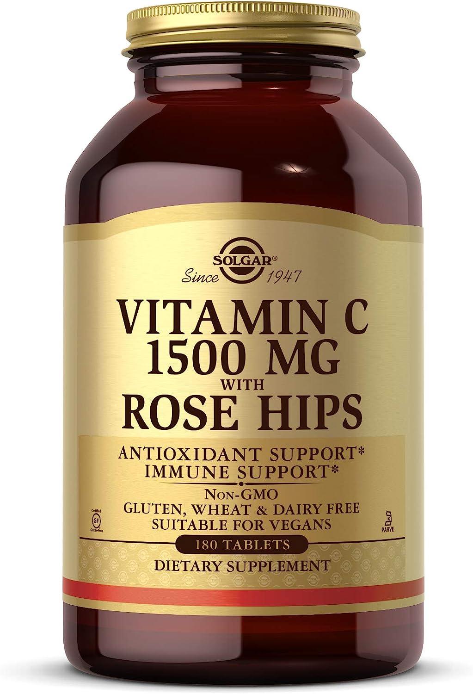Solgar Vitamina C con escaramujo 1500 mg (1,5 gramos) Comprimidos - Envase de 180
