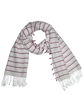 Uso Uno white-pink stylish handloom yarn dyed stole scarf with woven stripe  pattern and self pashmina knot fringes  Amazon.in  Clothing   Accessories 0c8825ca0