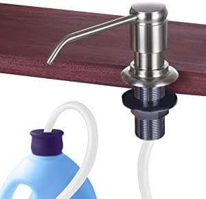 "Gagal Soap Dispenser for Kitchen Sink (Brushed Nickel) and Extension Tube Kit, Complete Brass Head, 40"" Silicone Tube Connect to The Soap Bottle Directly, Say Goodbye to Frequent Refills"