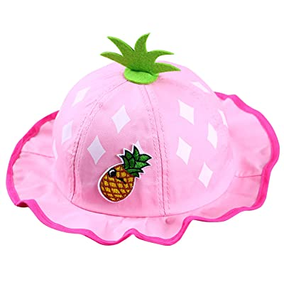 Happy Cherry Mixte Enfant Chapeau d'été Bébé Fille en Coton Réspirant Chapeau de soleil Bob Outdoor Hat pour Plage Voyage Mignon Motif à ananas Tour de tête 48CM