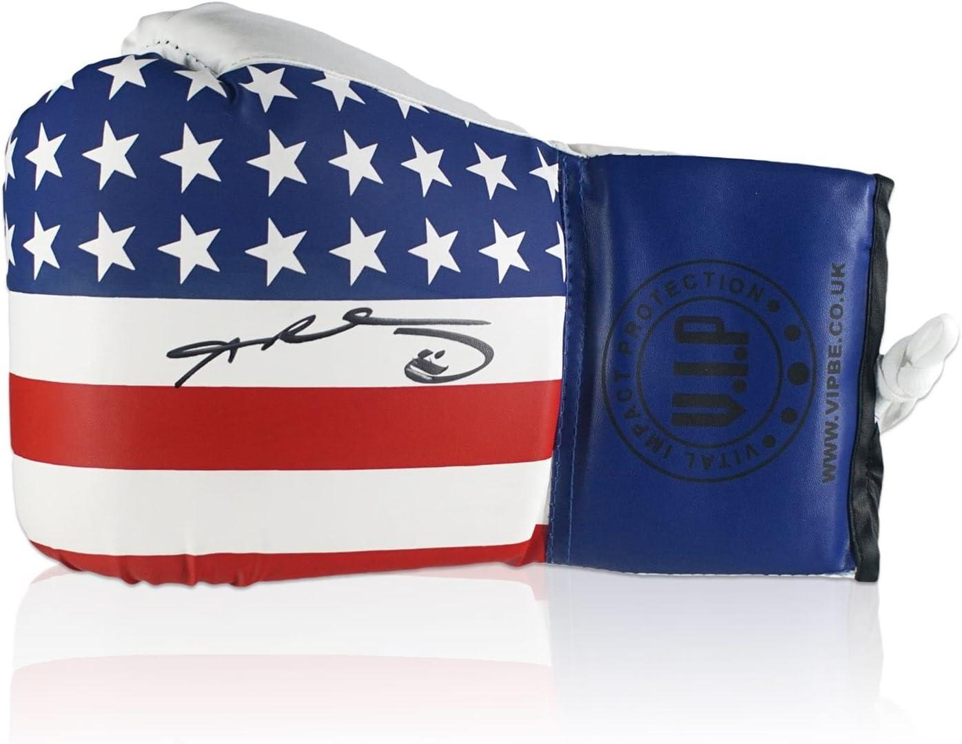 Estrellas y rayas guante de boxeo firmado por Sugar Ray Leonard. En caja de regalo.: Amazon.es: Deportes y aire libre