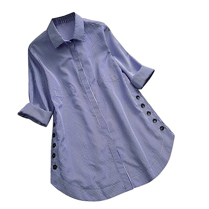 DEELIN Camiseta Larga De Manga Larga De Gran TamañO De Mujer Escocesa con Botones Flojos Top