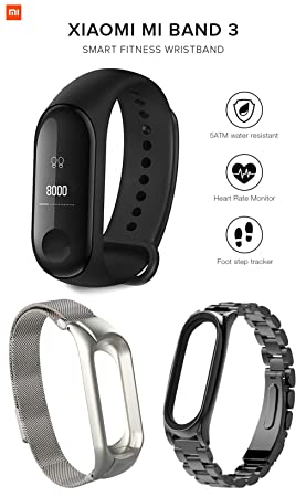 Pack Xiaomi Mi Band 3 + 2 Pulseras de Acero: Amazon.es ...
