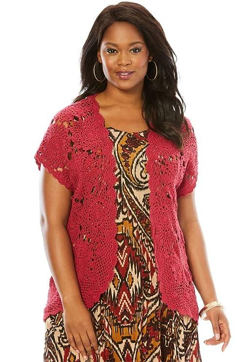 2309ac6221a96 Roamans Women s Plus Size Medallion Crochet Cardigan at Amazon Women s  Clothing store