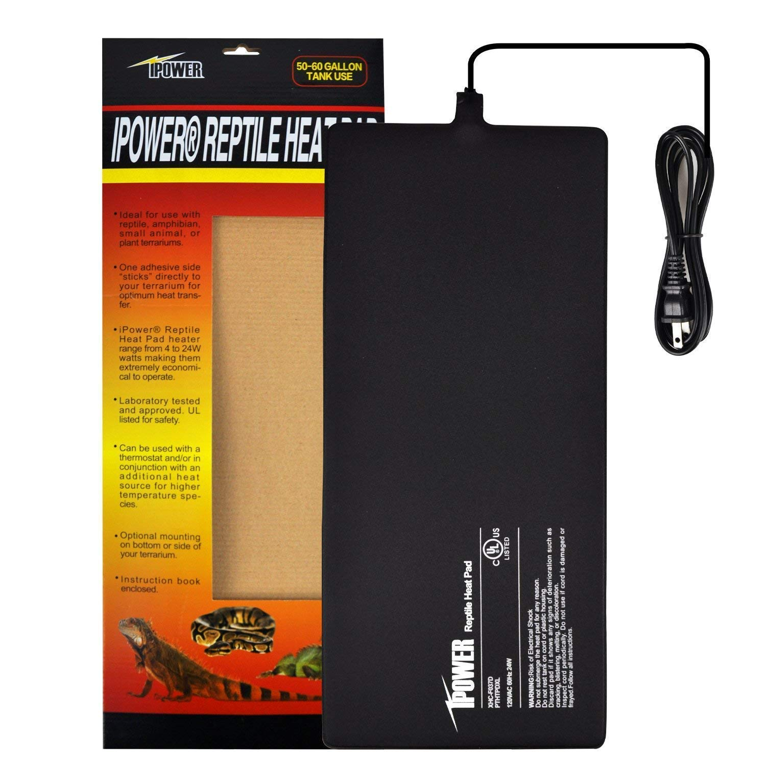 iPower 8 by 18-Inch 24 Watt Reptile Heat Pad Under Tank Terrarium Heater Heat Mat for Small Animals by iPower