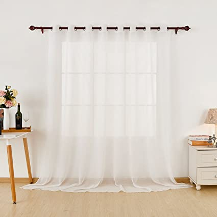 Deconovo Wide Width Sheer Curtains Linen Look Curtain For Living Room White Grommet Panels 100
