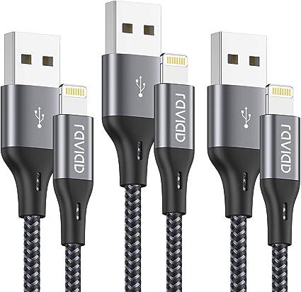 RAVIAD Cable Cargador iPhone [1.8M 3Pack] Cable Lightning Carga Rápida Trenzado de Nylon Cable iPhone