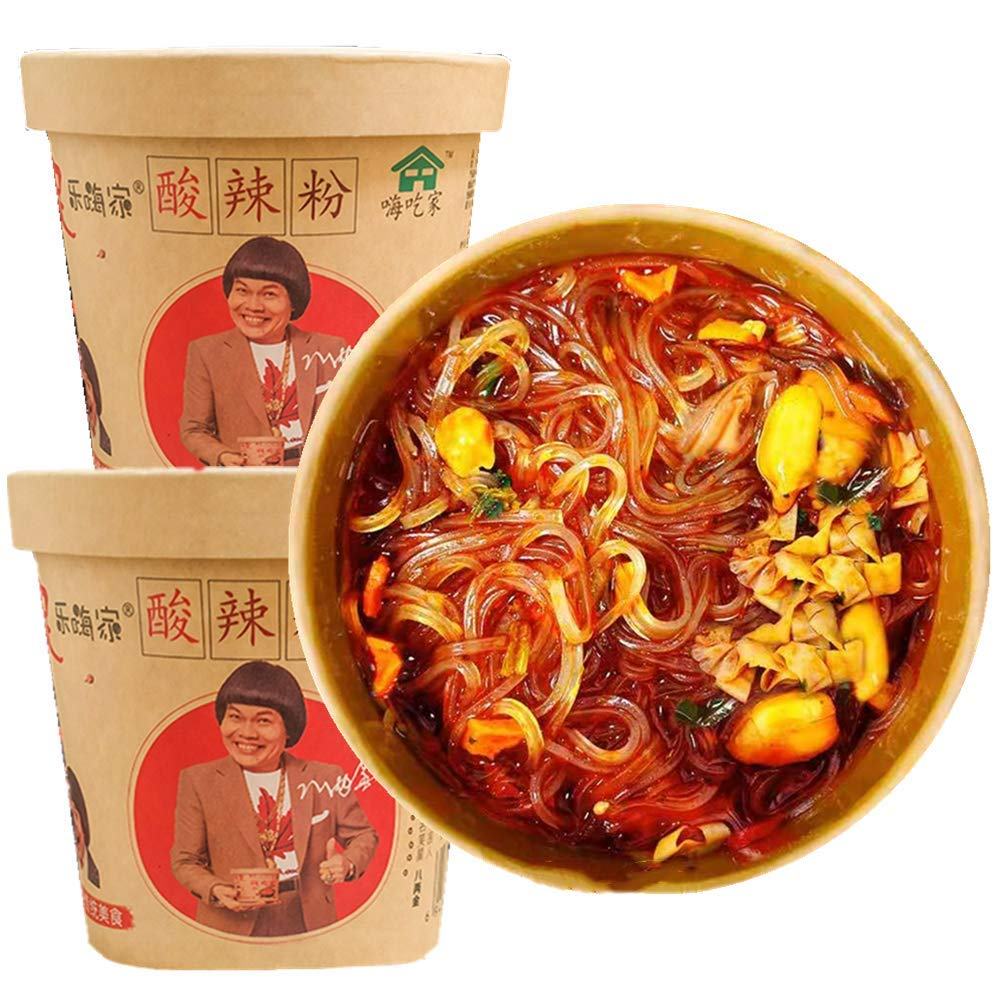 Hot and Sour Powder Instant Rice Noodles Chinese Snacks 酸辣粉 方便面 143g (2Pack)