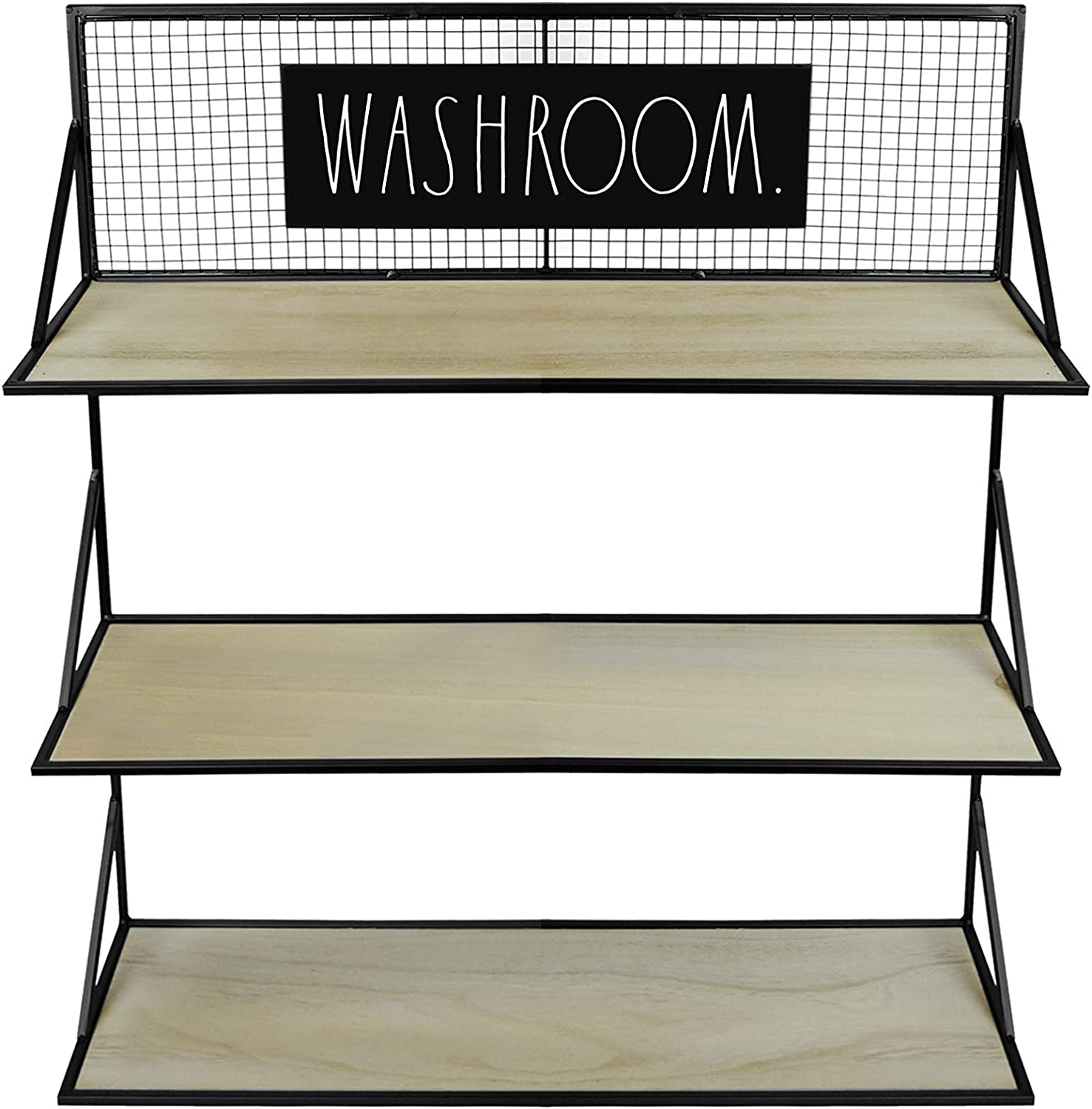 Rae Dunn 3 Tier Wall Shelf 'Washroom' - Wide Open Metal Rack with Wood Shelves for Storage and Display - Rustic, Vintage, Industrial, Farmhouse, Modern, Shabby Chic - Home and Bathroom Décor