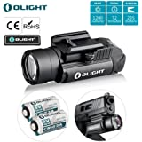 Bundle : olight pl-2 ,pl2, pl ii valkyrie 1200 Lumen rail mounted compact pistol light with 2 x cr123a batteries handgun weapon light flashlight for glock ,s&w , sig sauer , beretta with olight patch