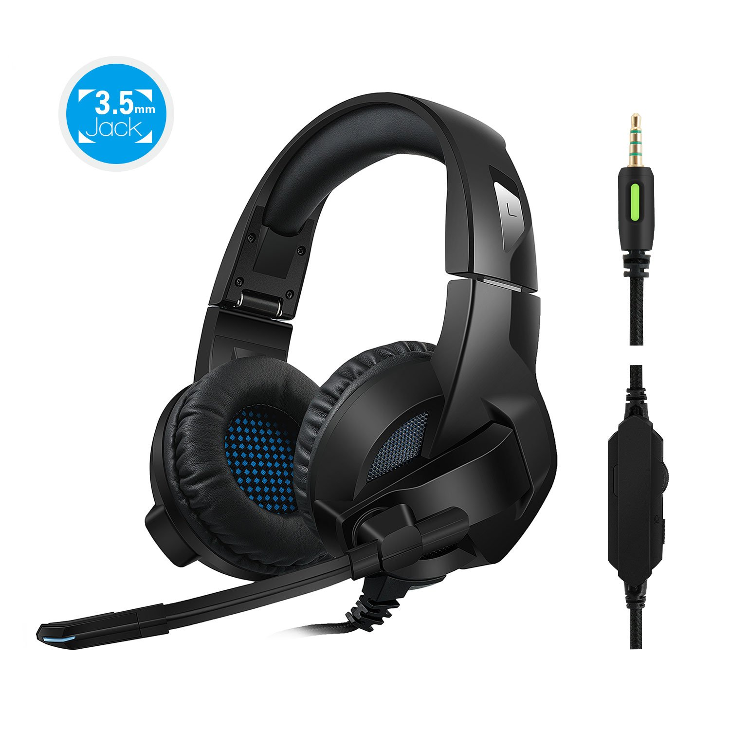Rimila Stereo Gaming Headset for playstation 3, playstation 4, PC, Xbox One Controller, Noise Cancelling Over Ear Headphones with Mic, Bass Surround, Soft Memory Earmuffs for Laptop Mac Switch Games
