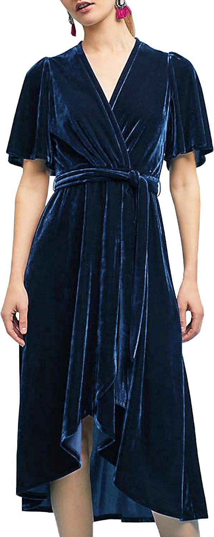 R.Vivimos Womens Velvet Pleated Wrap Tie Waist Elegant Flowy Party Plus Size Midi Dresses