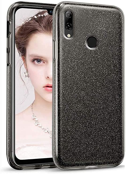 "Image of Coovertify Funda Purpurina Brillante Negra Xiaomi Redmi Note 7, Carcasa Resistente de Gel Silicona con Brillo Negro para Xiaomi Redmi Note 7 (6,3"")"
