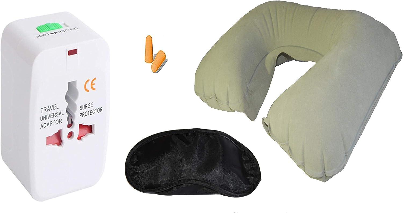 N//A Pack Adaptador de Viaje Universal si descansas disfrutas Tapones oidos Mascara Antifaz Dormir Beige Pack para Viajar c/ómodo Almohada Cuello Viaje