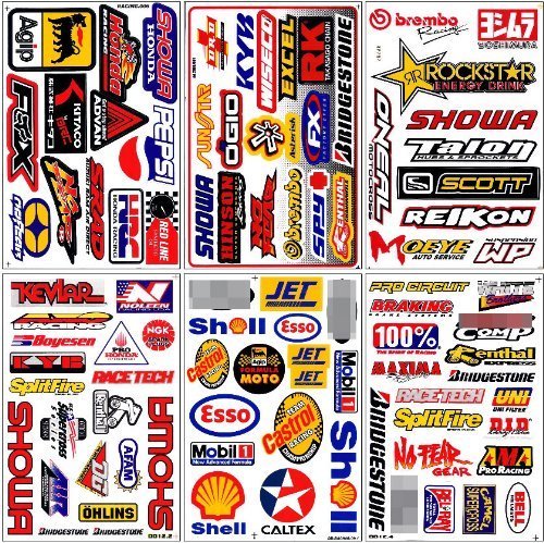 Graphic Racing Sticker Decal Motocross ATV Dirt 6 Sheets Set#5 - Atv Racing Stickers