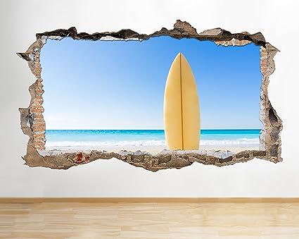 S507 tabla de surf playa cielo Azul Smashed adhesivo pared 3d arte pegatinas vinilo habitación (