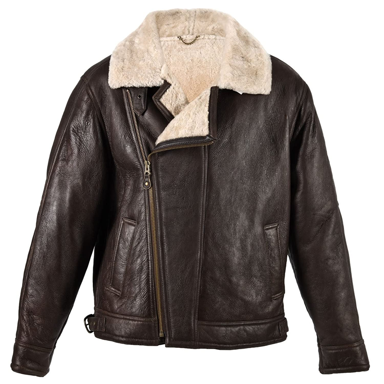 B3 shearling sheepskin raf wwii bomber leather flying aviator jacket - Arnicus Mens Brown Sheepskin Leather Aviator Flying Bomber Jacket