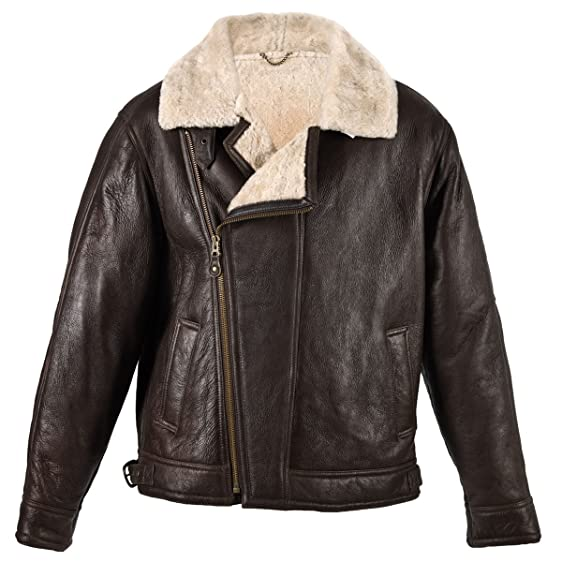 Arnicus Mens Brown Sheepskin Leather Aviator Flying / Bomber ...