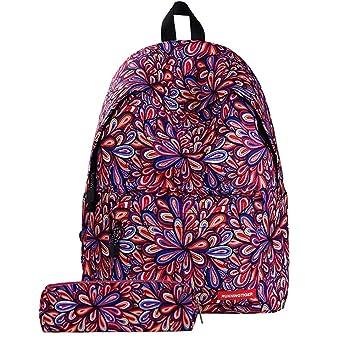 oyfel – Mochila de nailon a estrellas galaxia y estuche escolar Imprime ocio Cordón étnico indio flor floral hippie para niños Garcon niña ...