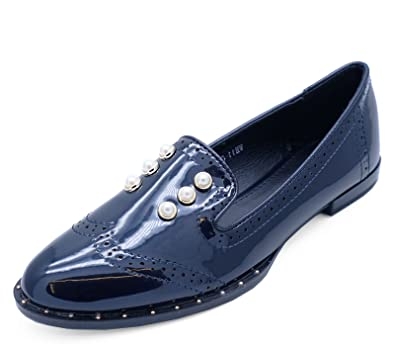8c2aedc1ebd HeelzSoHigh Ladies Navy Patent Slip-On Flat Loafers Smart Casual Comfy Work  Shoes Sizes 3-8  Amazon.co.uk  Shoes   Bags