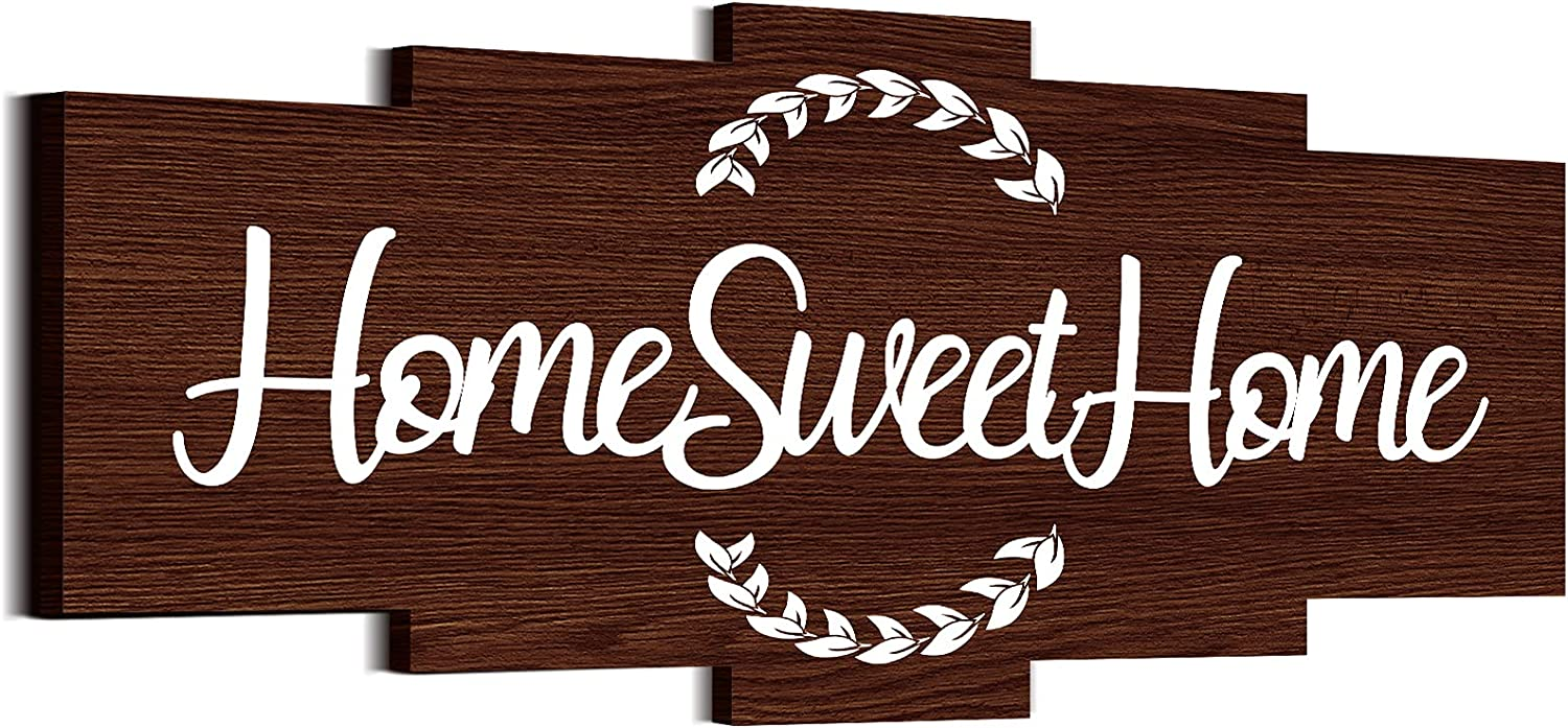 Jetec Home Sweet Home Sign, Rustic Wood Home Wall Decor, Large Farmhouse Home Sign Plaque Wall Hanging Wooden Sign for Bedroom, Living Room, Wall, Wedding Decor (Brown)