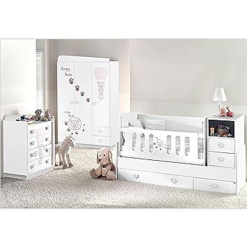 Mitwachsendes Komplett Babyzimmer Weiss Cute Bear mit 3 türigem Kl ...